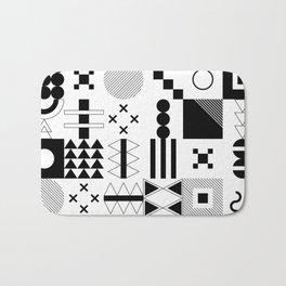 Memphis Black and White Playful Pattern Bath Mat