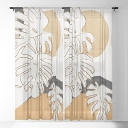 Abstract Art Monstera Leaves Sheer Curtain
