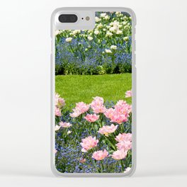 Pink Foxtrot tulips with blue forget-me-nots mix Clear iPhone Case