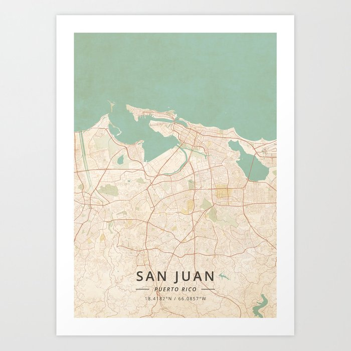 graphic relating to Printable Maps of Puerto Rico called San Juan, Puerto Rico - Basic Map Artwork Print by means of designermapart