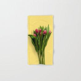 Yellow Bright Light Amber Pink Tulip Blossoms Flatlay Hand & Bath Towel