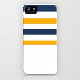 Yellow - blue - white stripes iPhone Case