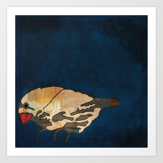 Finch on Blue Art Print
