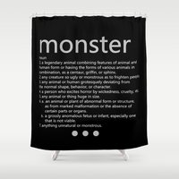 monster Shower Curtains featuring monster by Yilan