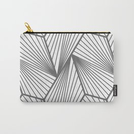Steel Gray Urban Industrial Geometric Line Pattern Carry-All Pouch