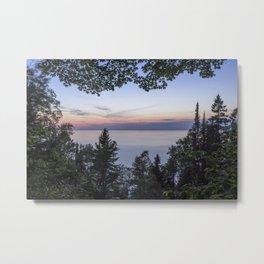 Tree Framed Lake Superior Twilight Metal Print