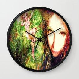Fairy feather wood nymph ladykashmir painting , Art Print by ladykashmir Wall Clock