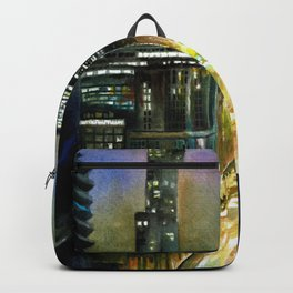 Chicago At Night Watercolor Painting Backpack