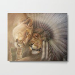 A Lion Love Story Metal Print
