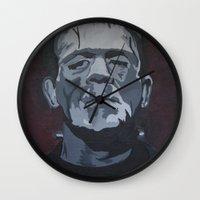 frankenstein Wall Clocks featuring Frankenstein by Paintings That Pop