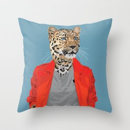 Leopard wearing Costume National Throw Pillow