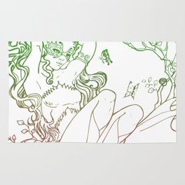 The Masked Fairy - leafy colors version - a masked fairy surrounded by butterflies and roses Rug