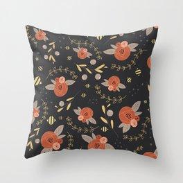 Decadent Floral Print Throw Pillow