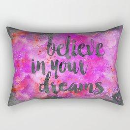 Believe dreams watercolor motivational quote Rectangular Pillow