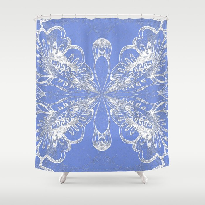 Periwinkle Blue Butterfly Floral Shower Curtain