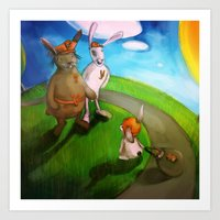 rabbits Art Prints featuring Rabbits by András Balogh