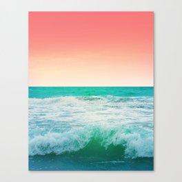 Aqua and Coral, 3 Canvas Print