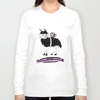 asexual Long Sleeve T-shirts featuring Asexual Pride Goat/Sheep by plaguedcoffeebeans