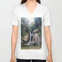 waterfall V-neck T-shirts featuring Waterfall by Arshii Khaleel
