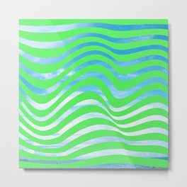 Neon Green Aesthetic Trippy Waves Modern Grunge with Sky Background Metal Print