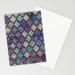 Moroccan Tile Design In Retro Colors Stationery Cards