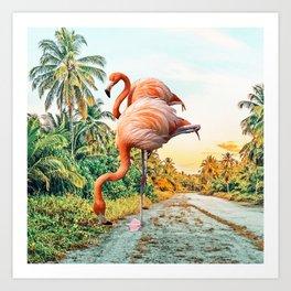 Flamingo Vacay #photography #surrealism Art Print