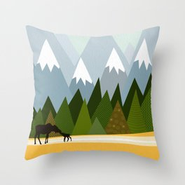 Woodland snowy mountain tops trees and mother moose and baby Throw Pillow