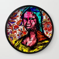 mona lisa Wall Clocks featuring Mona Lisa by Alec Goss