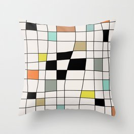 Mid Century Modern Warped Tiles Throw Pillow