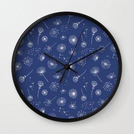 Blue Dandelion Pattern Wall Clock