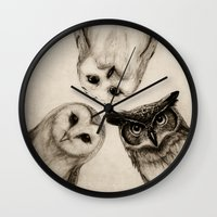 help Wall Clocks featuring The Owl's 3 by Isaiah K. Stephens
