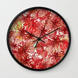 Tropical Foliage # Red Wall Clock