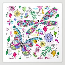 Floral Butterflies Art Print
