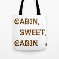 cabin Tote Bags featuring Cabin, Sweet, Cabin by PhotoVista360