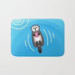 Sea Otter with Donut - Cute Otter Holding Doughnut Bath Mat