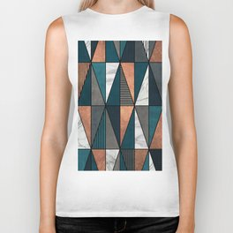 Copper, Marble and Concrete Triangles with Blue Biker Tank