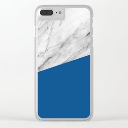 Marble and Lapis Blue Color Clear iPhone Case
