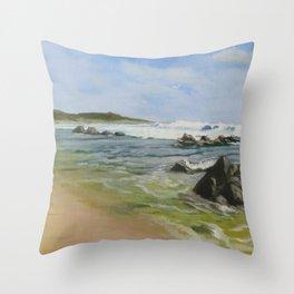 Gulls by the Rocks Throw Pillow