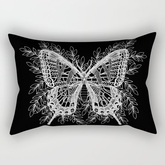 Black and White Butterfly Design Rectangular Pillow