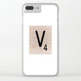 Scrabble Tile - Letter V - Letter Art Clear iPhone Case