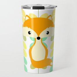 Fox and multicolored leaves Travel Mug