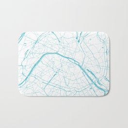 Paris France Minimal Street Map - Turquoise Blue and White Bath Mat