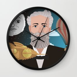 jules verne science fiction retro writer Wall Clock