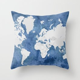 Navy blue watercolor and light grey world map with countries (outlined) Throw Pillow