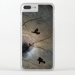 Crows Lit By A Full Moon Clear iPhone Case