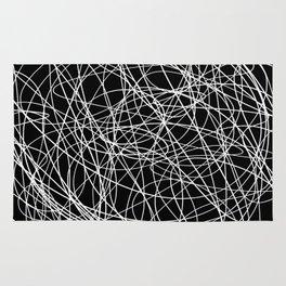 Black line doodle single line Rug
