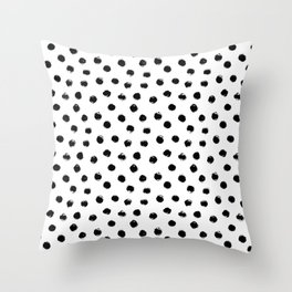 Polka Dots Black and White Throw Pillow