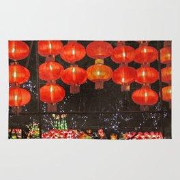 Red Chinese lanterns at night Rug