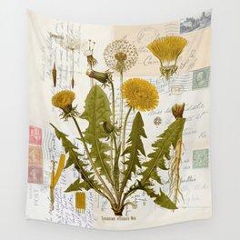 Vintage Dandelion on Antique Postcards Wall Tapestry
