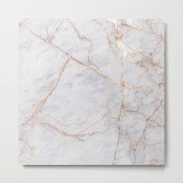 White Italian Marble & Gold Metal Print